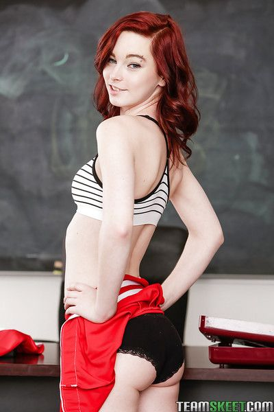 Inept redhead schoolgirl Trinity May showing stay away from he pussy in school