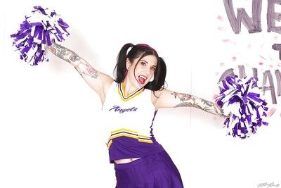 Untrained upskirt posing with a hot newborn Joanna Angel in will not hear of cheerleader suit