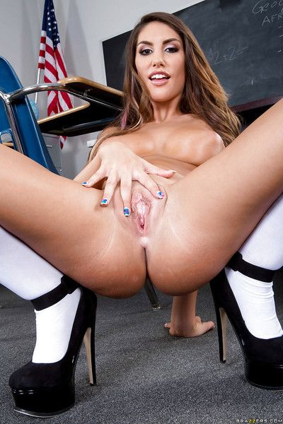 Loved schoolgirl August Ames demonstrates her natural big tits