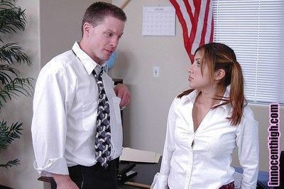 Latina schoolgirl teen Sativa giving a nasty gungy blowjob in office