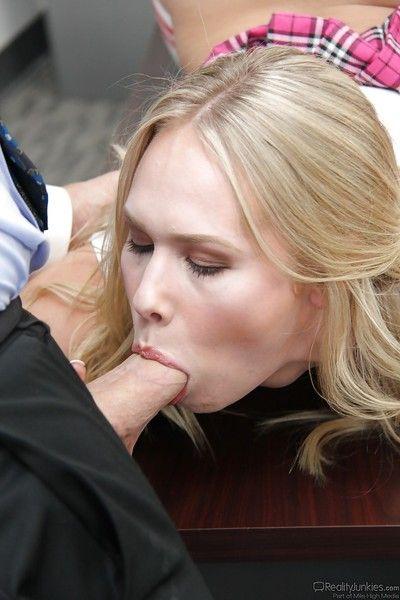 Barely legal schoolgirl Dakota James pompously teacher a blowjob in long socks