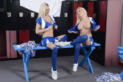Curvy cheerleaders changing their clothes in the locker square