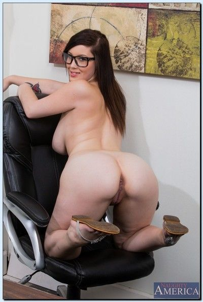 Curvy coed in glasses Noelle Easton stripping and spreading will not hear of legs