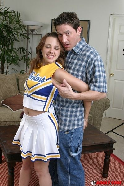 Twatty cheerleader gets glassy nearly jizz look into a fervent FMM trilogy