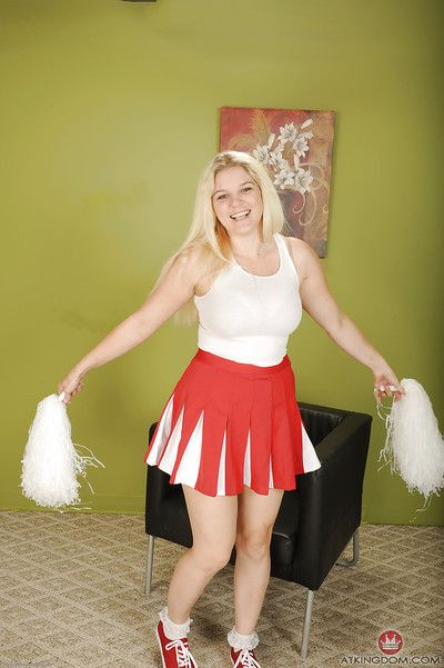 Chesty young tow-haired cheerleader Prudence Tarn trade mark Day-Glo upskirt pantihose