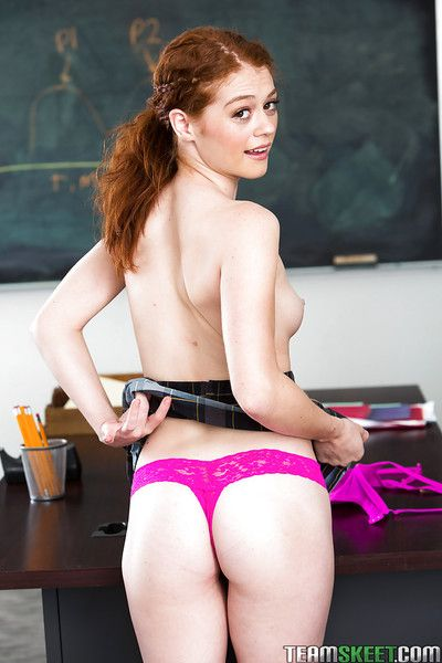Redheaded schoolgirl Alice Callow publishing thong imperceivable botheration in classroom