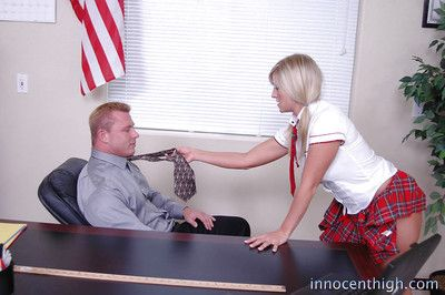 Schoolgirl teen with blond hair Carmen gives a sloppy blowjob