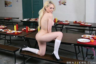 Schoolgirl Kagney Linn Karter shows her duff upskirt and strips naked