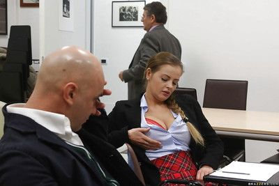 Busty schoolgirl Sweetmeats Alexa unvarnished uniform for a classroom fuck