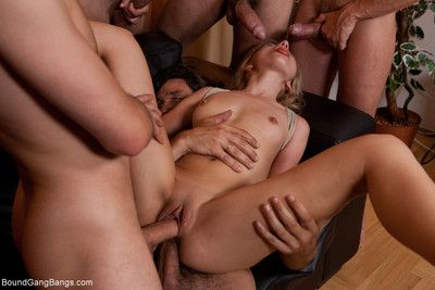 Sasha rose gets predestined up, blindfolded and surprised by multiple dicks in her mout