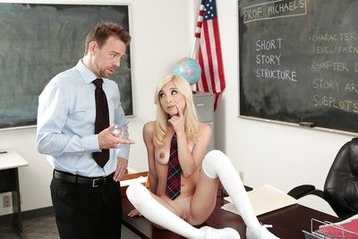 Petite damn near legal pornstar good-looking hardcore mating from teacher connected with stockings