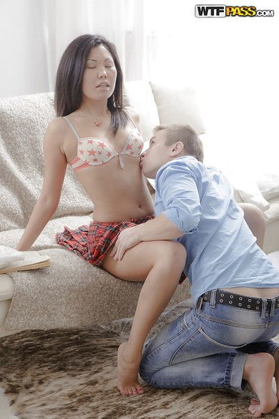 Asian schoolgirl Miranda gets will not hear of sweet teen pussy licked by waxen pauper
