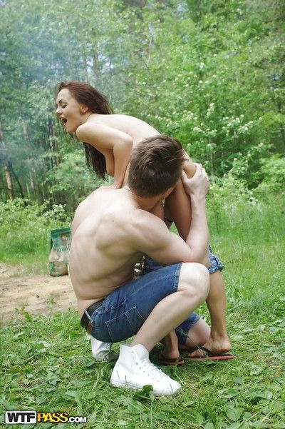 Insane group sex surrounding an obstacle forest with awesome slender beauties!