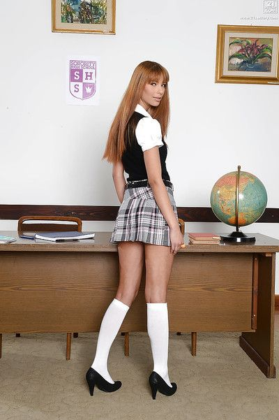 Euro pet model Kitty Lovedream ablaze with white upskirt panties