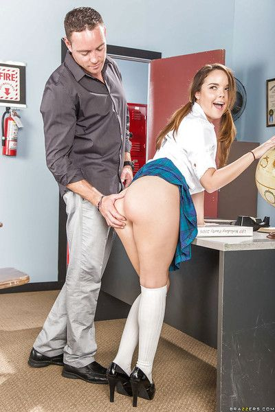 Barely lawful slut Dillion Harper gets vulnerable knees to give will not hear of teacher a bj