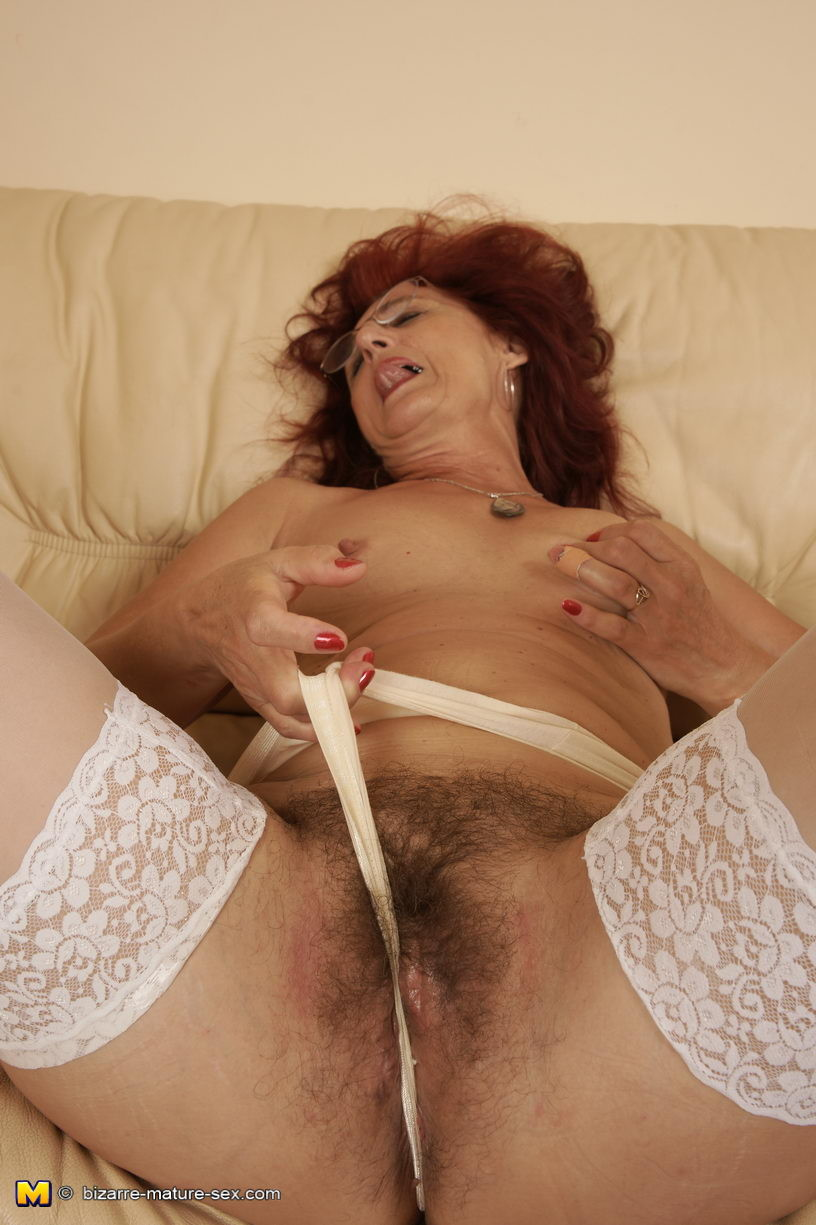 Perverted shaggy MILF fisted by a sticky dear