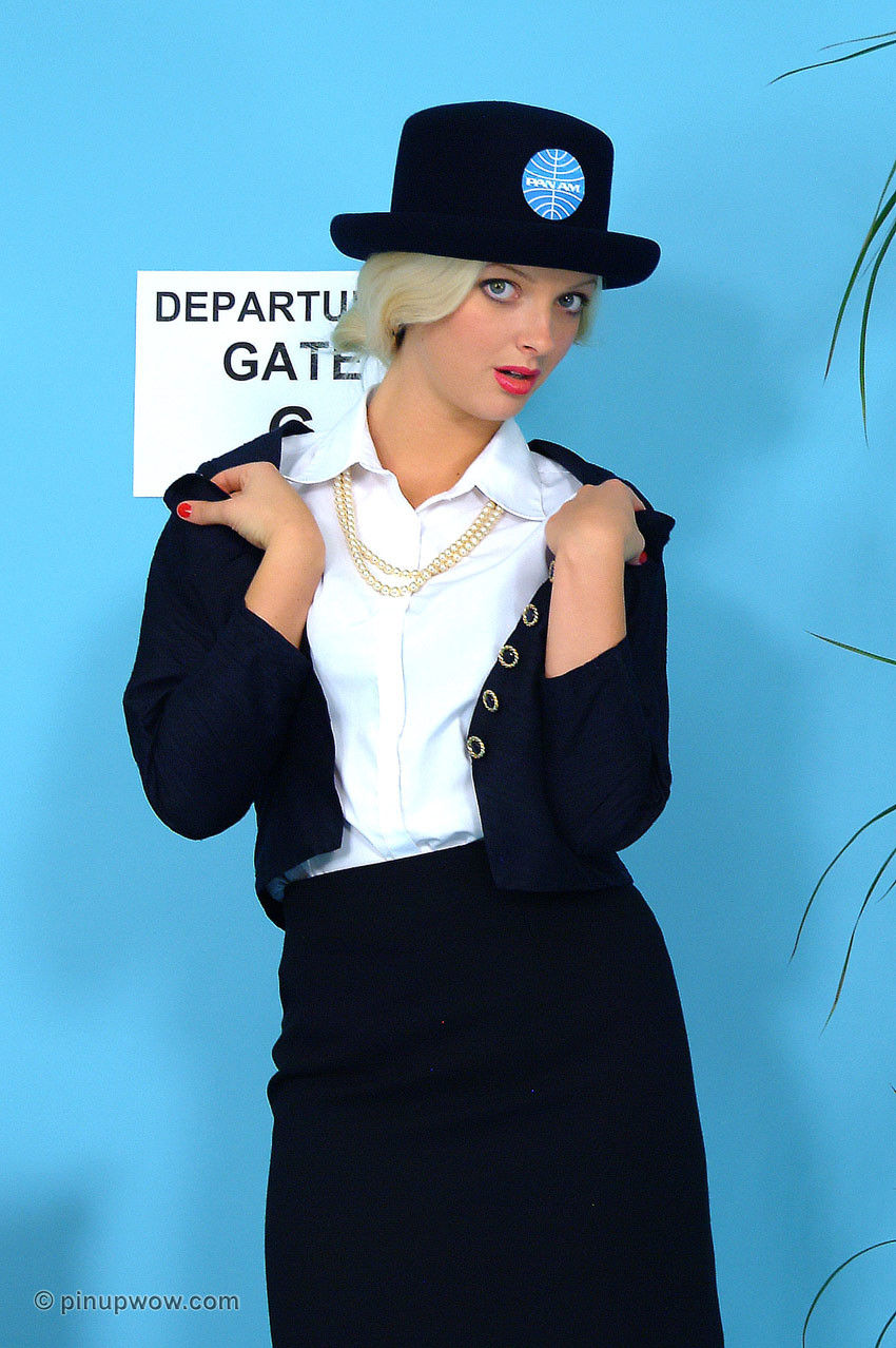 Untamed blond air hostess exposes her untamed underware