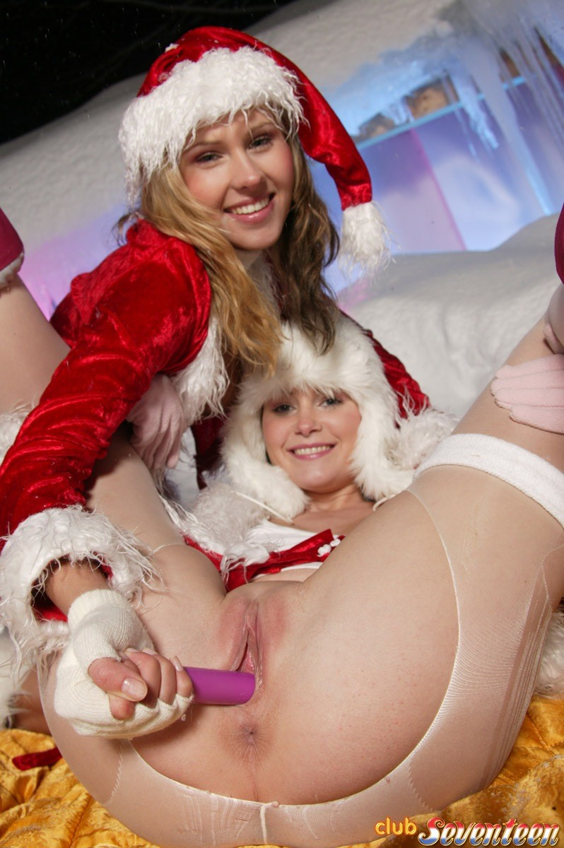 Wild woman-on-woman teenies mouth to mouth on christmas