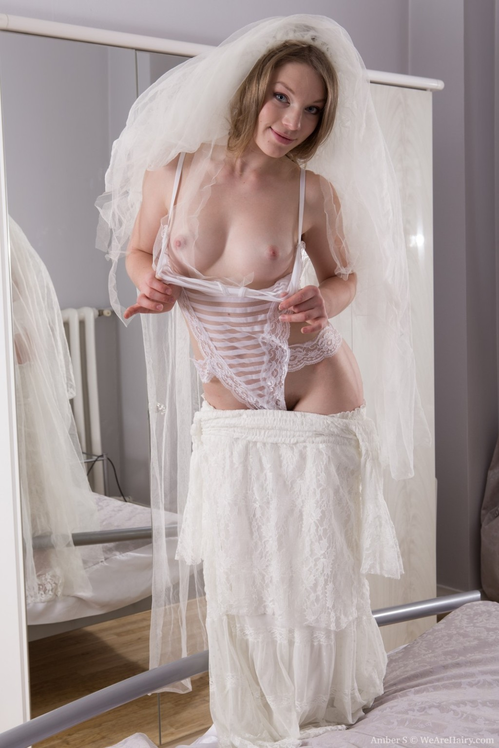 Amber s gets undressed exposed in her wedding clothing