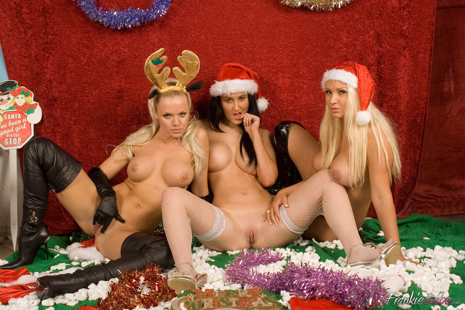 3 lesbo cuties are helping out santa clause this year and exactly after helping him