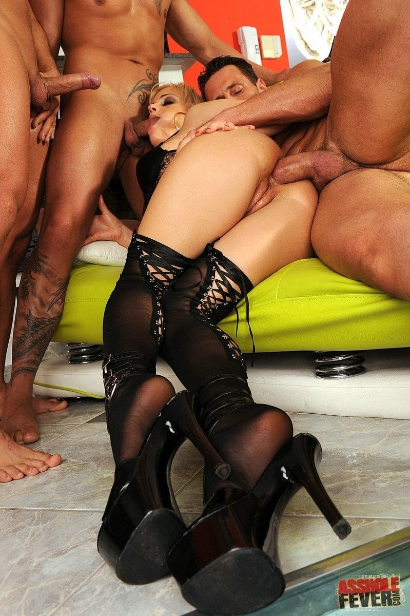 Fairy britney acquires anal group-fucked by triple men