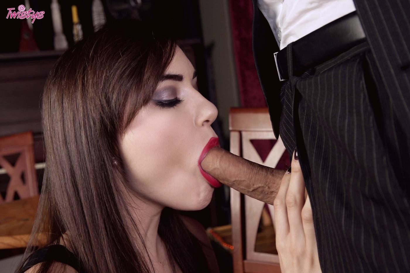 Thin sasha grey takes off her swarthy suit and benefits from dicked