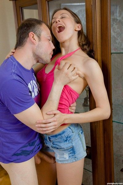 Young take charge brunette teen gets her tight botheration fucked hard