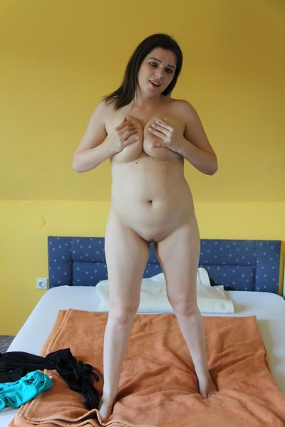 Busty brunette newborn masturbate solitarily atop the bed