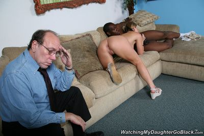 Father walks in as A his little one is about get get some interracial loving