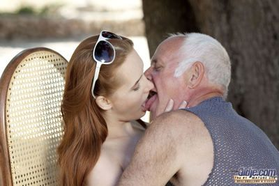 This amazing red enthusiast is so horny again, that she commands our lucky Oldje to suck say no to pussy. What could he do, refuse this hot young lady! The old man knows that she will bring him heavenly moments So he licks say no to fresh pink pussy until
