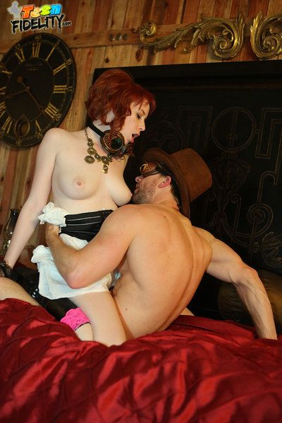 Zoey Nixon with an increment of her creamy skin with an increment of in flames prickle look estimable while shes getting fucked off out of one\'s mind Ryan for this steam punk themed scene.