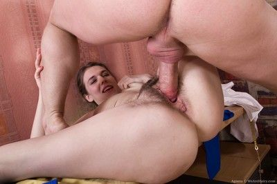 Not roundabout hairy pussy of dirty bird fucked in hardcore porn pics