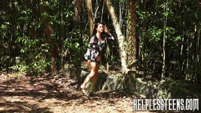 Footslogger alone in the forest leads for an abduction for a girl: forced into bonda