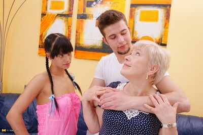 Hot young couple effectuation sidekick a randy mature slut