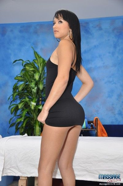 Cute 18 year ancient brunette massage therapist mandy gives a to the point more than a mas