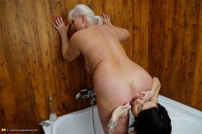 This hot coddle gets some naughty old and young lesbian copulation