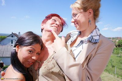 Three old and young lesbians feel in one\'s bones soiled afternoon