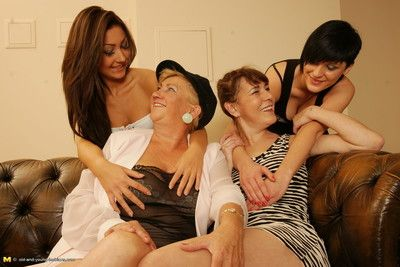 Four aged and young lesbians make out and take a crack at fun