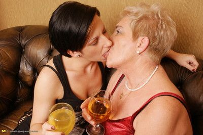 Two superannuated together with young lesbians take a crack at a sexparty