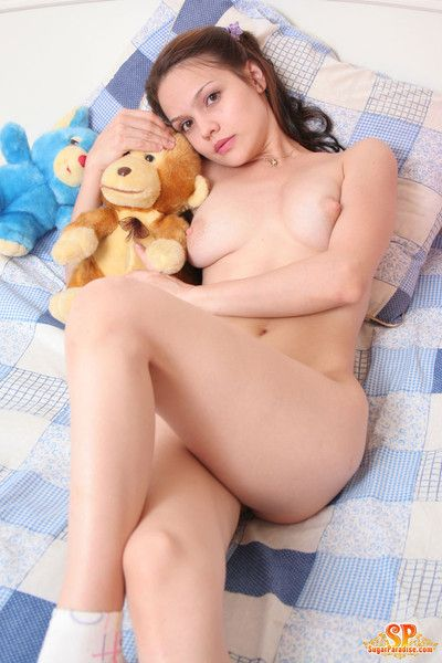 Naked girl with puristic toys