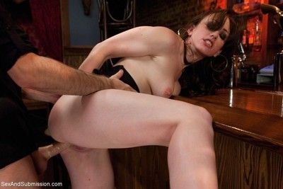 Jennifer white ass fucked and dominated in bondage by bartender