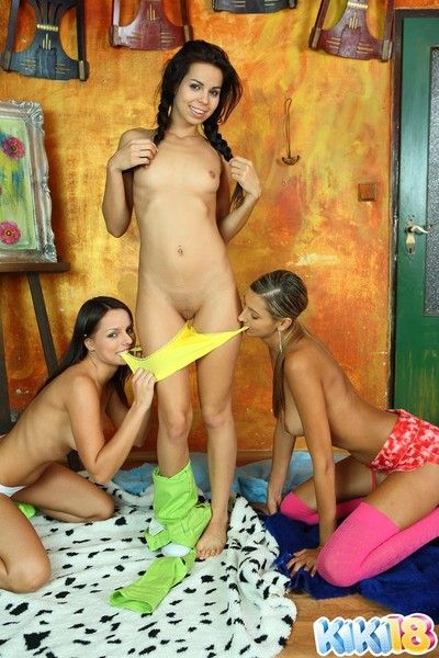 Small boob teen spread out adjacent to two girlfriends