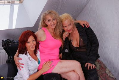 An old with an increment of young lesbian threesome goes wild