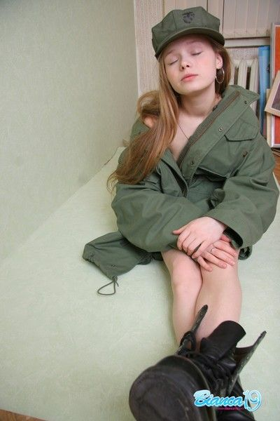 Cute nineteen year old teen give military uniform