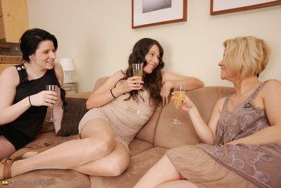 Three naughty old with an increment of young lesbians having distraction