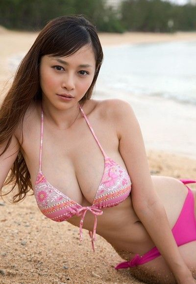 Busty asian anri sugihara at the littoral in a pink bikini