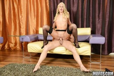 Slender blonde hottie in stockings gets fucked with an increment of tastes some hot jizz