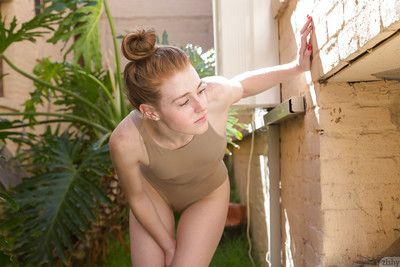 Ravishing redhead unprofessional Julie Wheeler flaunting her nuisance outdoors
