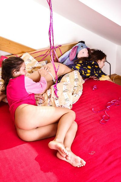 Playful teenage floosies have some lesbian humping coupled with pussy put to rout fun
