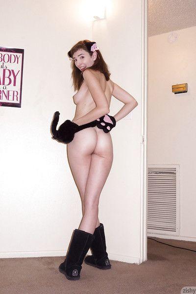 Extraordinary brunette teen Yvette Nolot having fun in a revealing livery